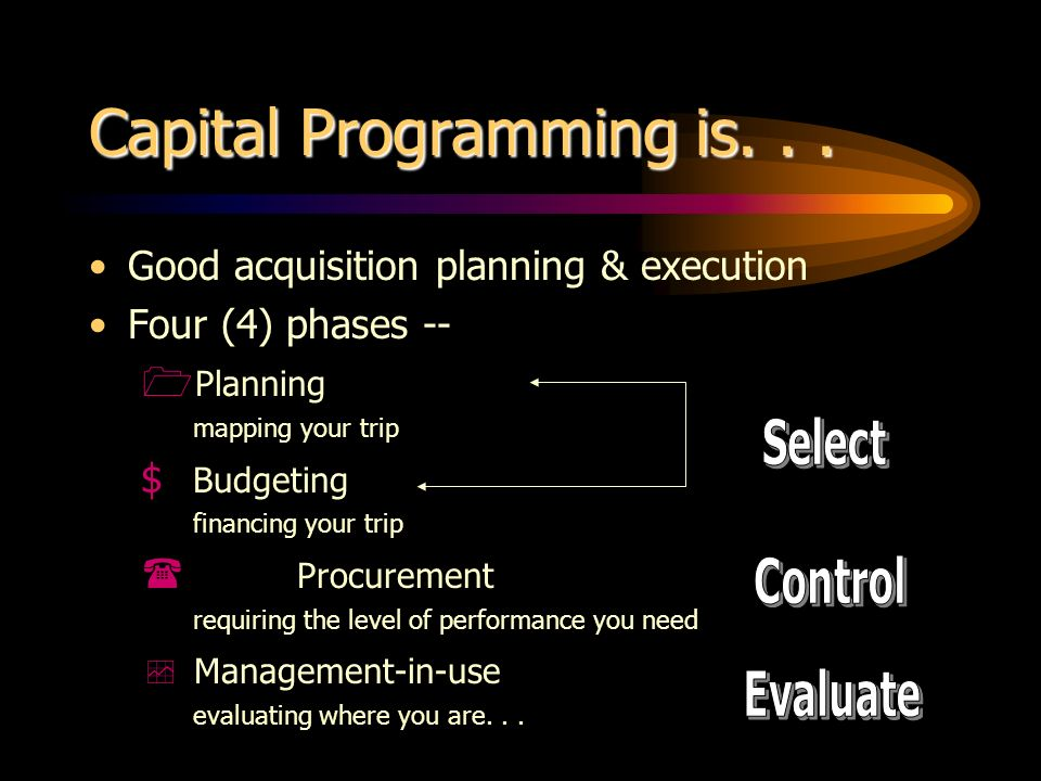 Capital Programming is... Good acquisition planning & execution Four (4) phases -- Planning mapping your trip $ Budgeting financing your trip Procurem