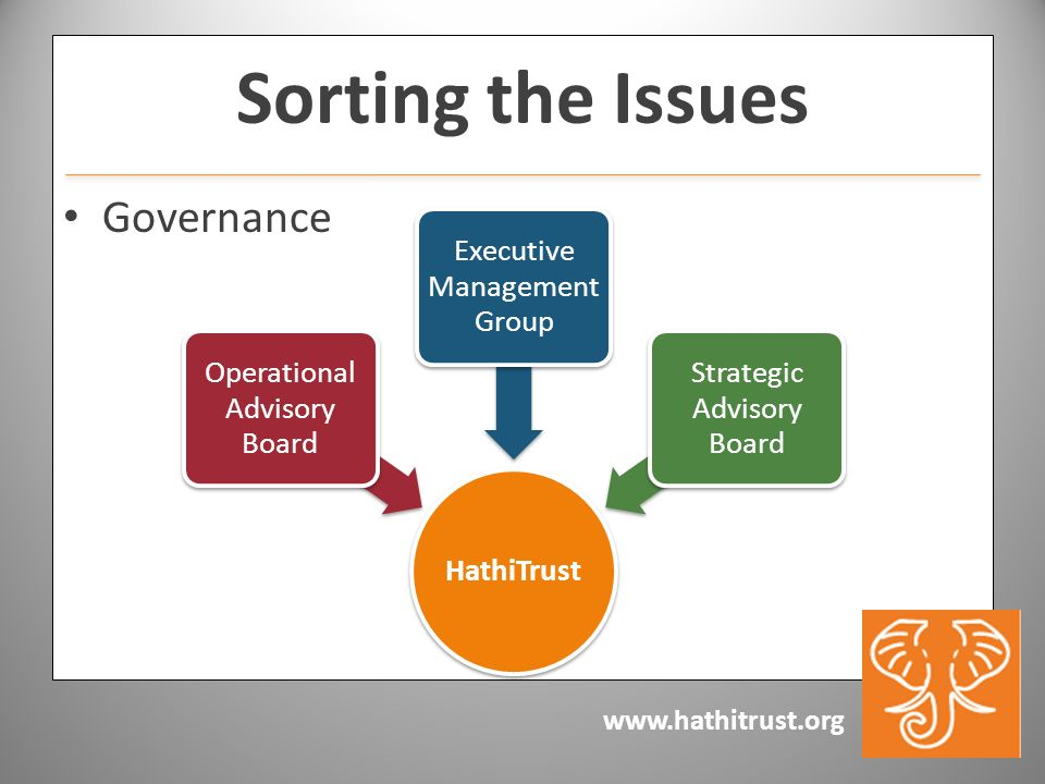 www.hathitrust.org Sorting the Issues Governance HathiTrust Operational Advisory Board Executive Management Group Strategic Advisory Board