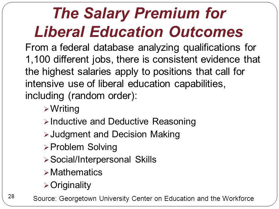 The Salary Premium for Liberal Education Outcomes From a federal database analyzing qualifications for 1,100 different jobs, there is consistent evidence that the highest salaries apply to positions that call for intensive use of liberal education capabilities, including (random order): Writing Inductive and Deductive Reasoning Judgment and Decision Making Problem Solving Social/Interpersonal Skills Mathematics Originality Source: Georgetown University Center on Education and the Workforce 28