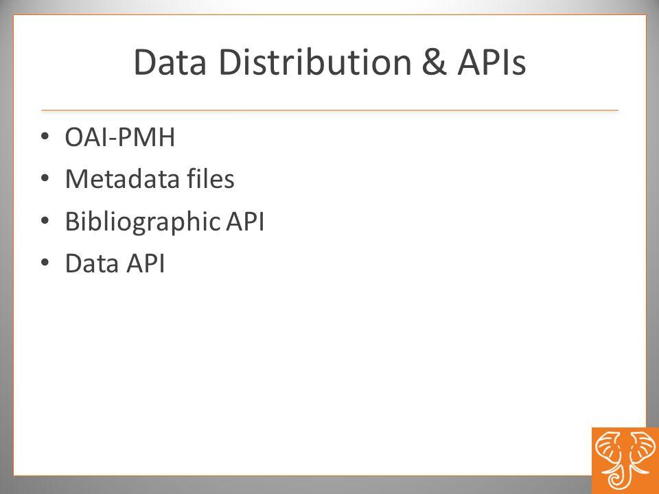 Data Distribution & APIs OAI-PMH Metadata files Bibliographic API Data API