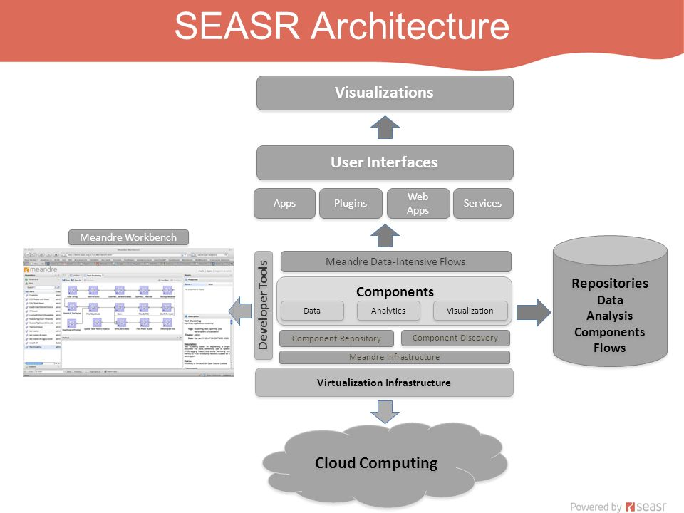 SEASR Architecture Components Virtualization Infrastructure Meandre Infrastructure Visualization Component Repository Component Discovery Meandre Data