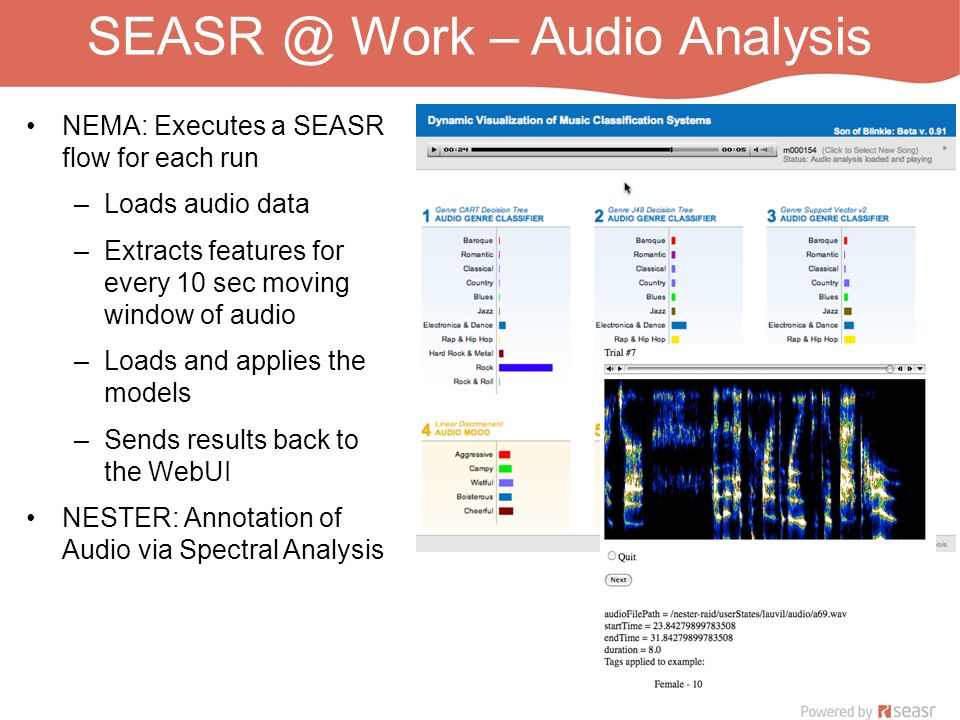 SEASR @ Work – Audio Analysis NEMA: Executes a SEASR flow for each run –Loads audio data –Extracts features for every 10 sec moving window of audio –L