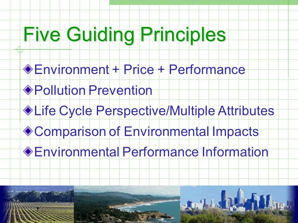 Five Guiding Principles Environment + Price + Performance Pollution Prevention Life Cycle Perspective/Multiple Attributes Comparison of Environmental