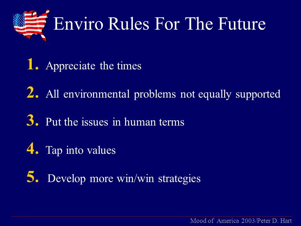 Mood of America 2003/Peter D. Hart Enviro Rules For The Future 1.