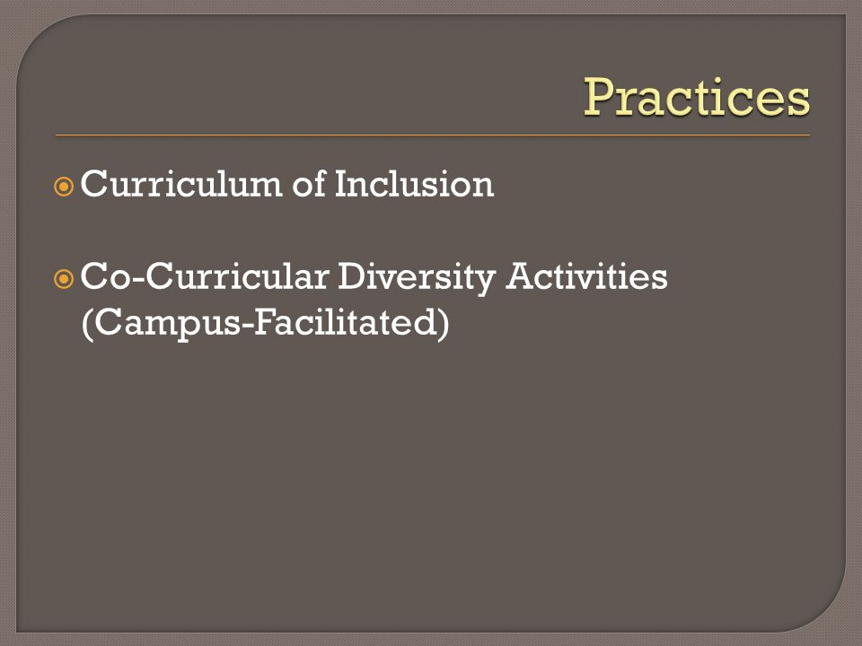 Curriculum of Inclusion Co-Curricular Diversity Activities (Campus-Facilitated)