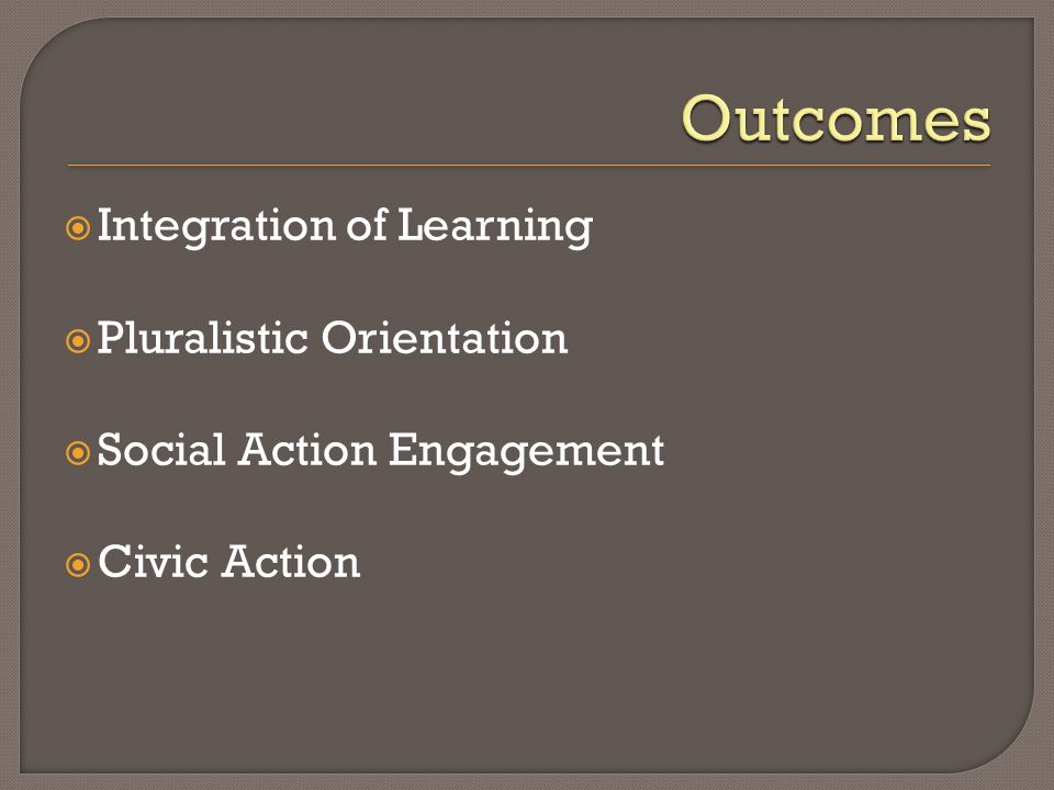 Integration of Learning Pluralistic Orientation Social Action Engagement Civic Action