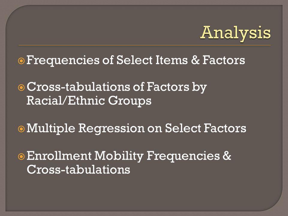 Frequencies of Select Items & Factors Cross-tabulations of Factors by Racial/Ethnic Groups Multiple Regression on Select Factors Enrollment Mobility Frequencies & Cross-tabulations