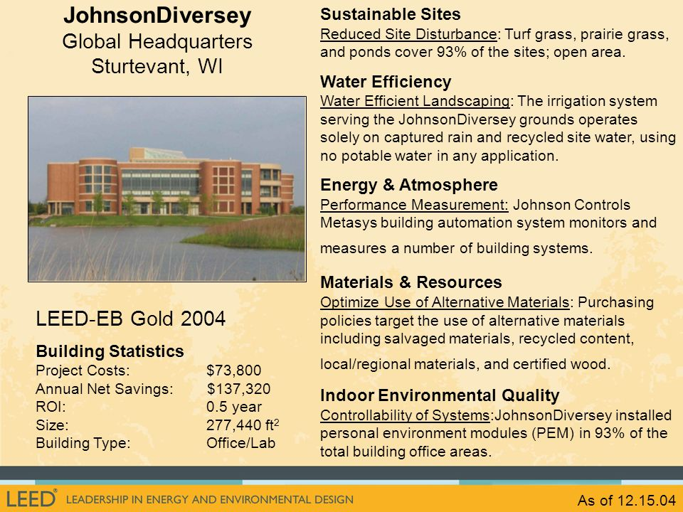 As of 12.15.04 LEED-EB Gold 2004 Building Statistics Project Costs: $73,800 Annual Net Savings: $137,320 ROI: 0.5 year Size: 277,440 ft 2 Building Typ