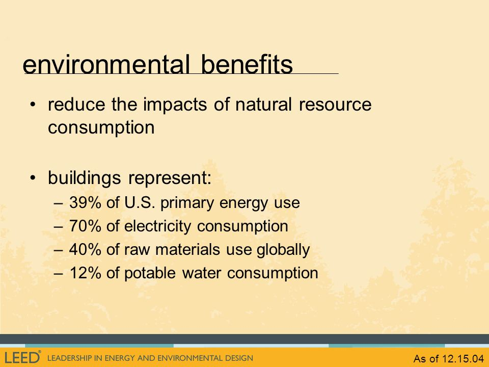 As of 12.15.04 reduce the impacts of natural resource consumption buildings represent: –39% of U.S. primary energy use –70% of electricity consumption