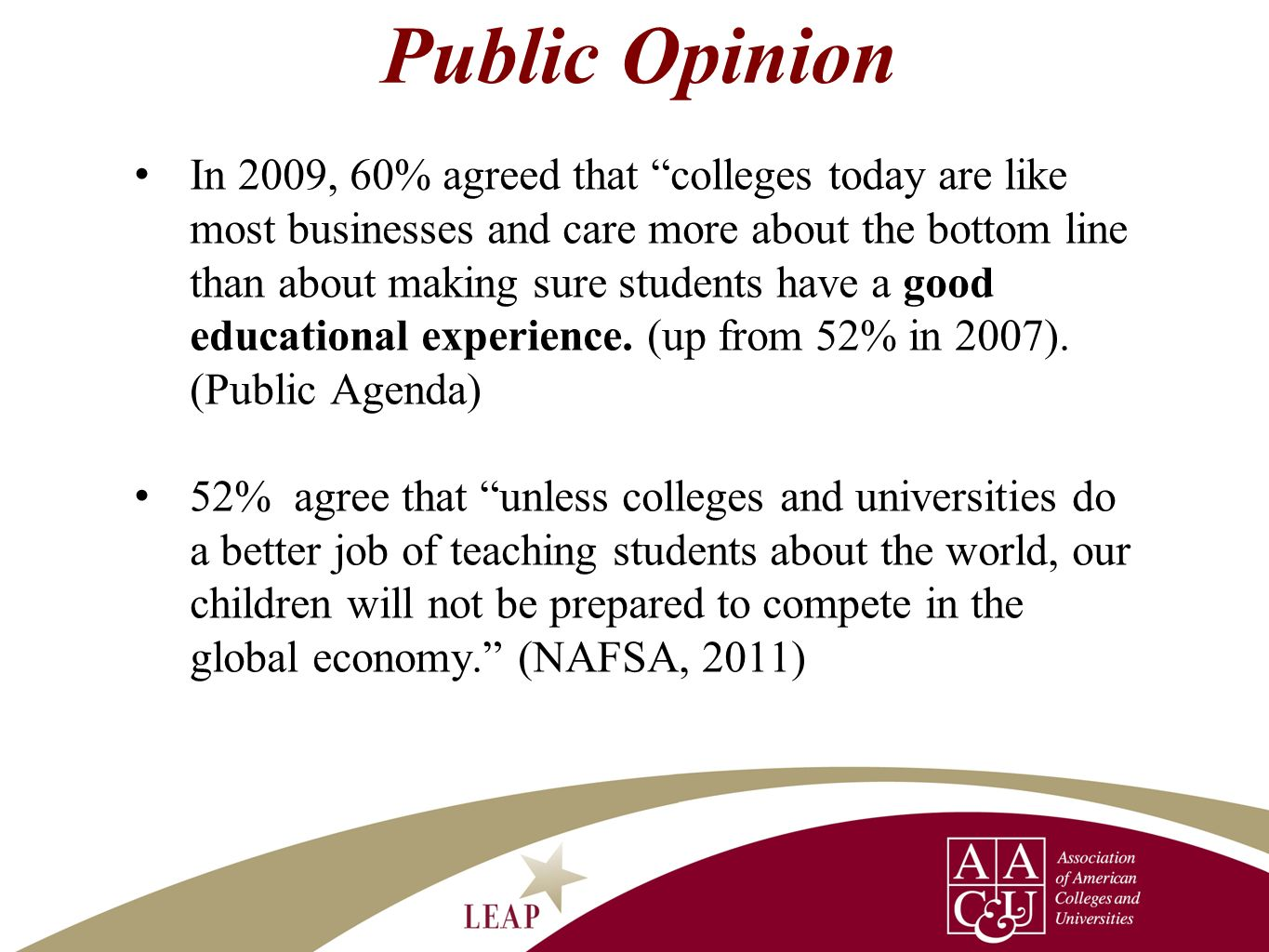 Public Opinion In 2009, 60% agreed that colleges today are like most businesses and care more about the bottom line than about making sure students ha