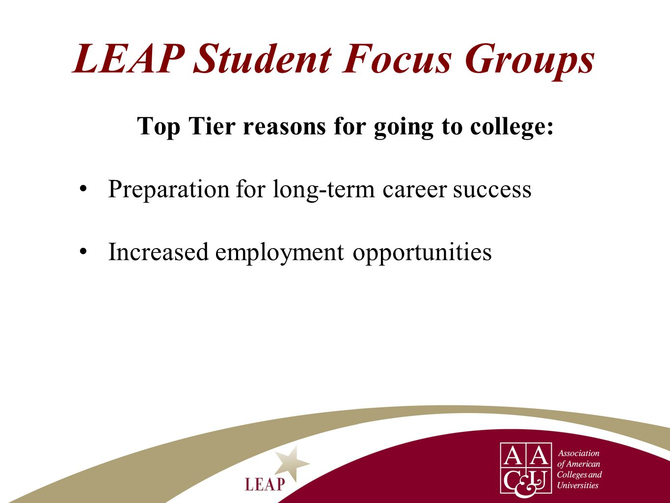 LEAP Student Focus Groups Top Tier reasons for going to college: Preparation for long-term career success Increased employment opportunities
