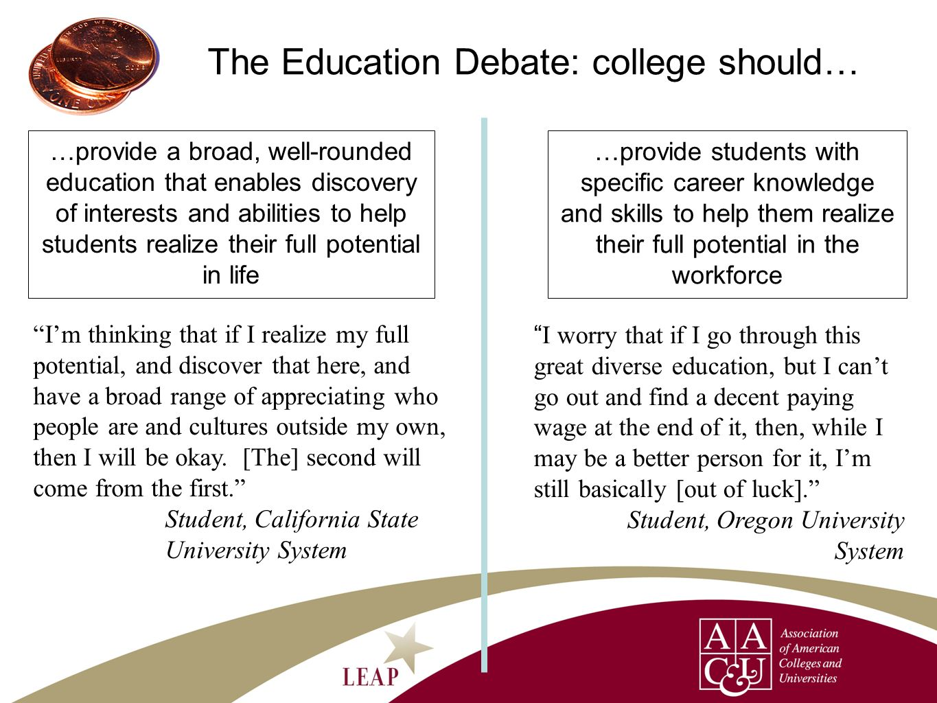 The Education Debate: college should… …provide a broad, well-rounded education that enables discovery of interests and abilities to help students real