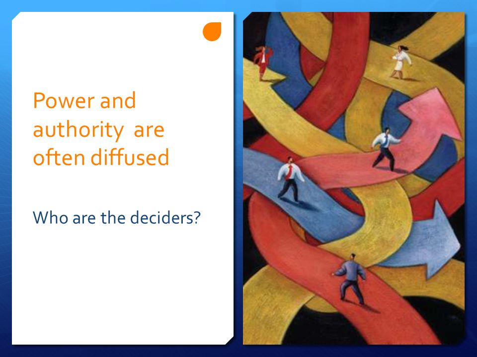 Power and authority are often diffused Who are the deciders?