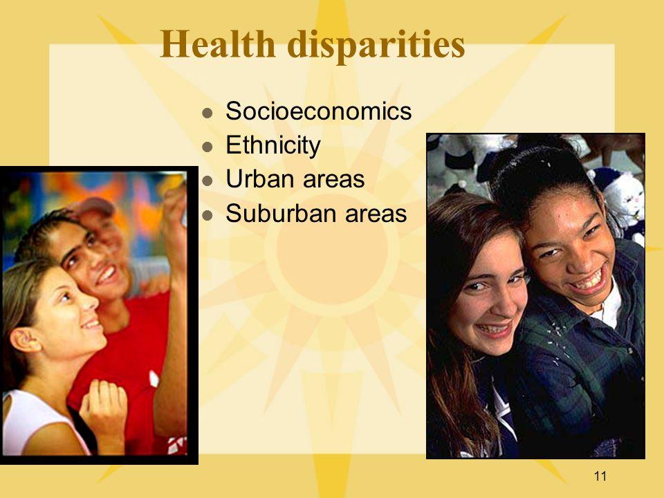 11 Health disparities Socioeconomics Ethnicity Urban areas Suburban areas