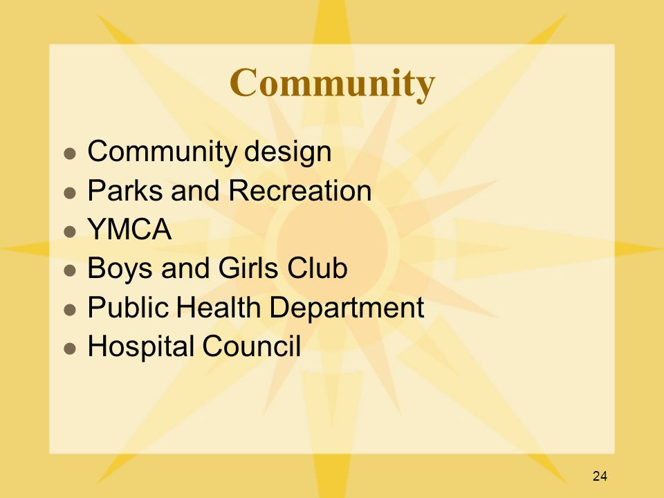 24 Community Community design Parks and Recreation YMCA Boys and Girls Club Public Health Department Hospital Council