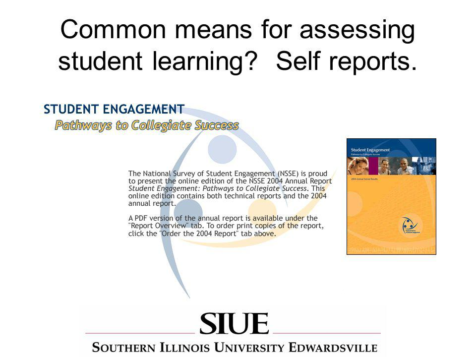 Common means for assessing student learning Self reports.