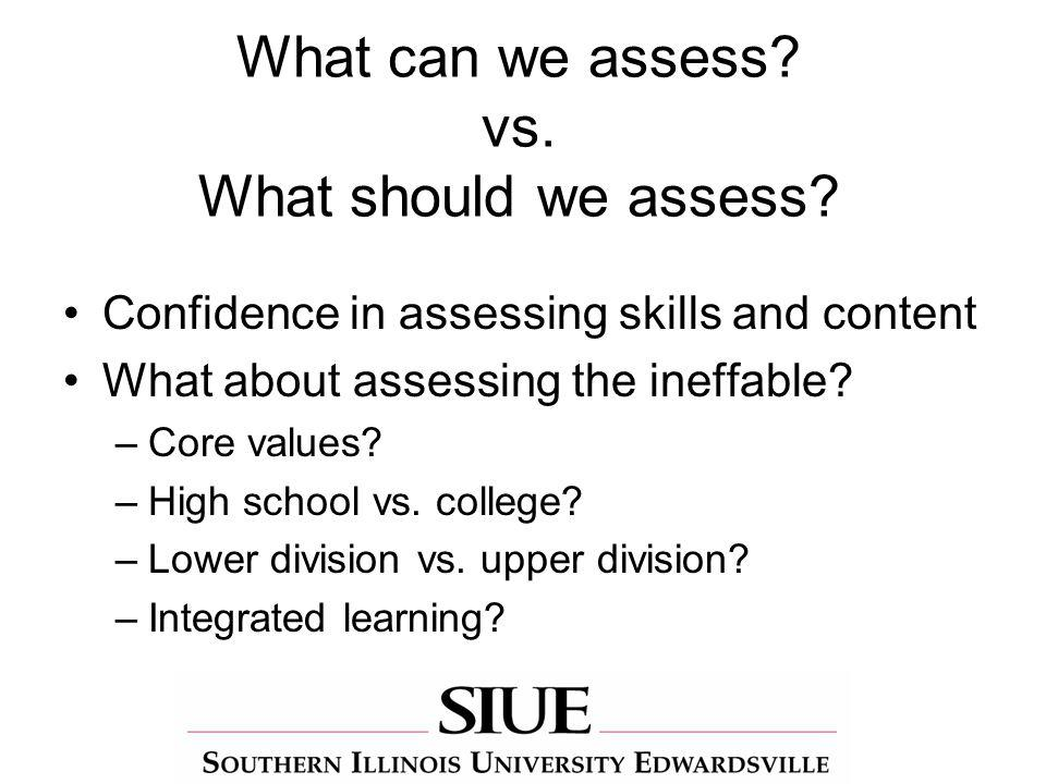 What can we assess. vs. What should we assess.