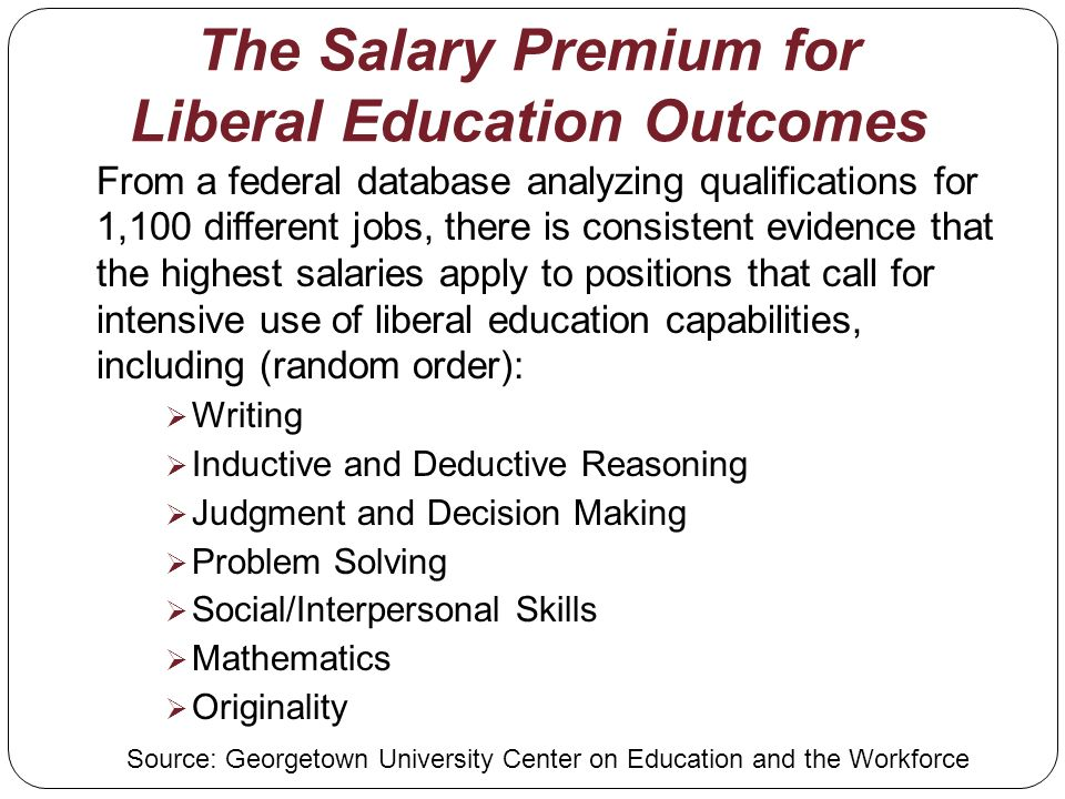 The Salary Premium for Liberal Education Outcomes From a federal database analyzing qualifications for 1,100 different jobs, there is consistent evidence that the highest salaries apply to positions that call for intensive use of liberal education capabilities, including (random order): Writing Inductive and Deductive Reasoning Judgment and Decision Making Problem Solving Social/Interpersonal Skills Mathematics Originality Source: Georgetown University Center on Education and the Workforce