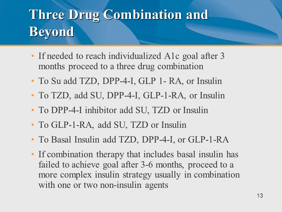 After Metformin Use a two drug combination Options include (order not meant to indicate a preference): –Sulfonylurea –Thiazoladinedione –DPP-4-Inhibit