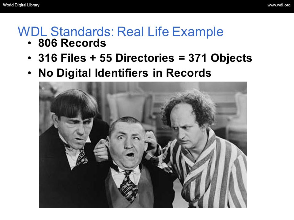 OSI | WEB SERVICES WDL Standards: Real Life Example 806 Records 316 Files + 55 Directories = 371 Objects No Digital Identifiers in Records World Digital Library www.wdl.org