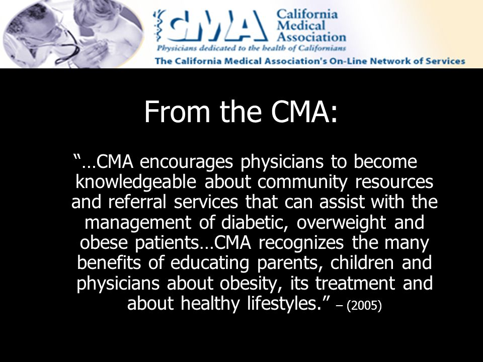 From the CMA: …CMA encourages physicians to become knowledgeable about community resources and referral services that can assist with the management o