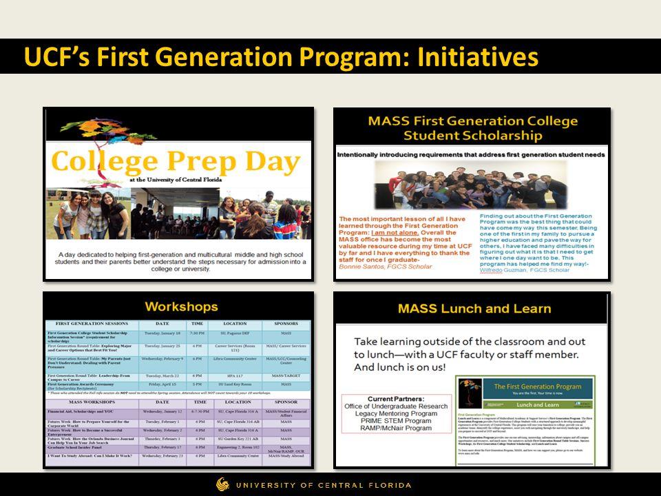 UCFs First Generation Program: Initiatives