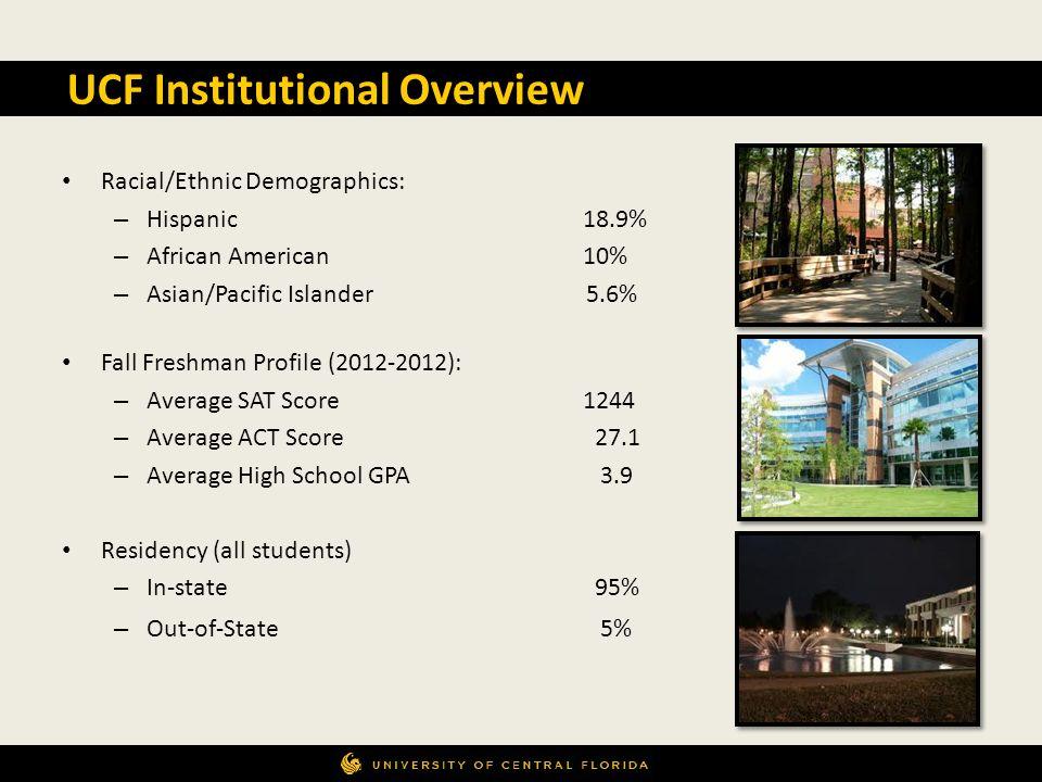 Racial/Ethnic Demographics: – Hispanic18.9% – African American10% – Asian/Pacific Islander 5.6% Fall Freshman Profile (2012-2012): – Average SAT Score