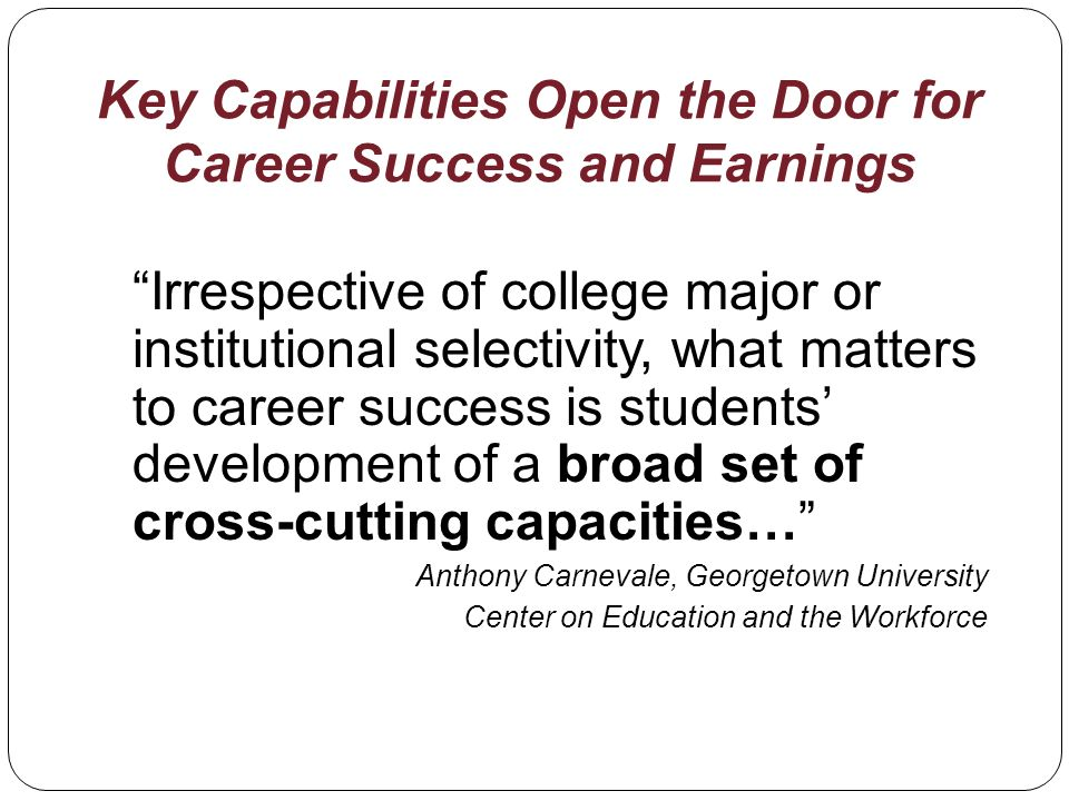 Key Capabilities Open the Door for Career Success and Earnings Irrespective of college major or institutional selectivity, what matters to career success is students development of a broad set of cross-cutting capacities… Anthony Carnevale, Georgetown University Center on Education and the Workforce