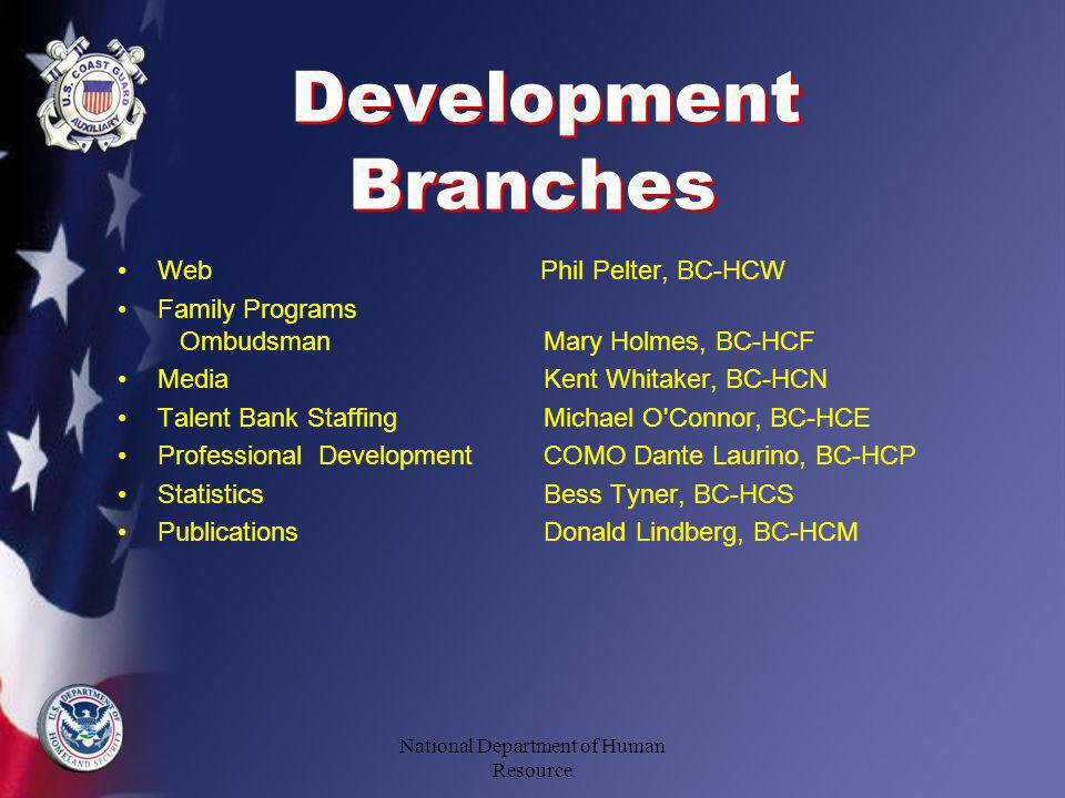 Development Branches Web Phil Pelter, BC-HCW Family Programs OmbudsmanMary Holmes, BC-HCF MediaKent Whitaker, BC-HCN Talent Bank Staffing Michael O Connor, BC-HCE Professional DevelopmentCOMO Dante Laurino, BC-HCP StatisticsBess Tyner, BC-HCS PublicationsDonald Lindberg, BC-HCM National Department of Human Resource