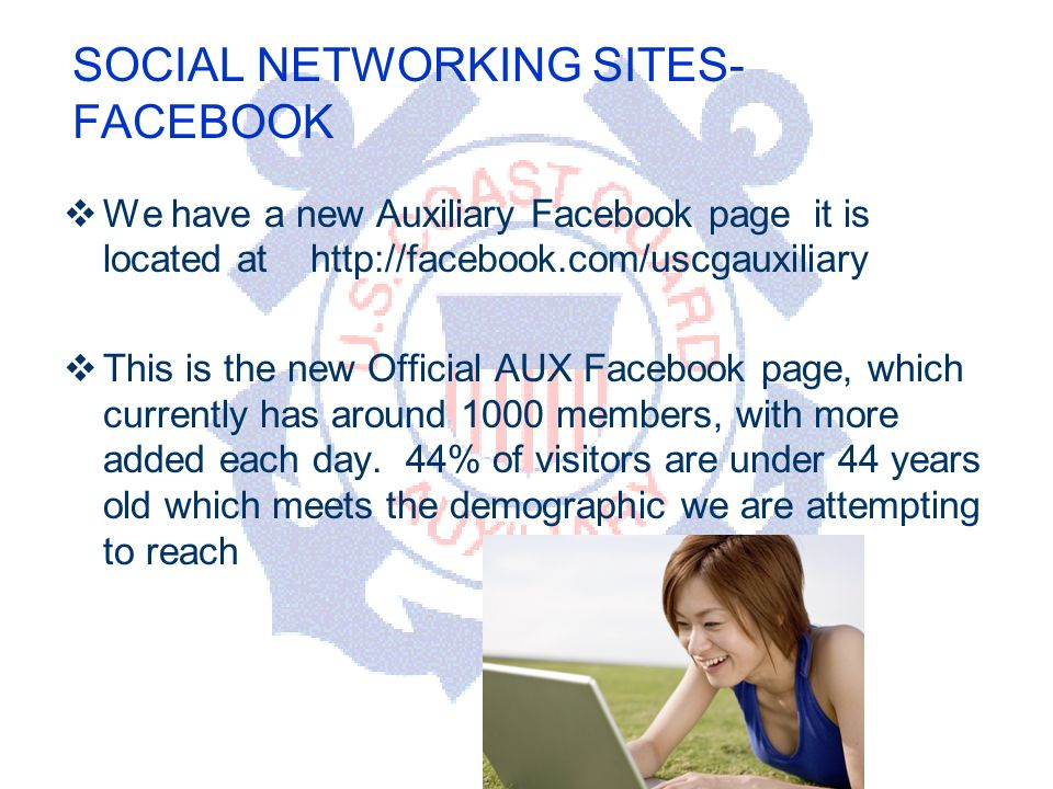 DEPARTMENT OF PERSONNEL SOCIAL NETWORKING SITES- FACEBOOK We have a new Auxiliary Facebook page it is located at   This is the new Official AUX Facebook page, which currently has around 1000 members, with more added each day.