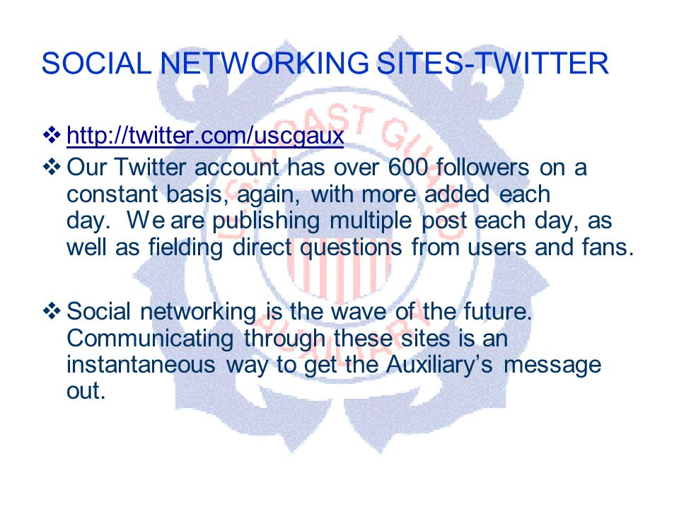 DEPARTMENT OF PERSONNEL SOCIAL NETWORKING SITES-TWITTER   Our Twitter account has over 600 followers on a constant basis, again, with more added each day.