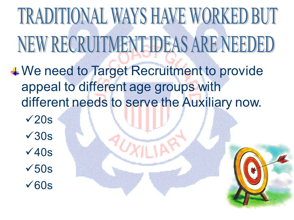 DEPARTMENT OF PERSONNEL We need to Target Recruitment to provide appeal to different age groups with different needs to serve the Auxiliary now.