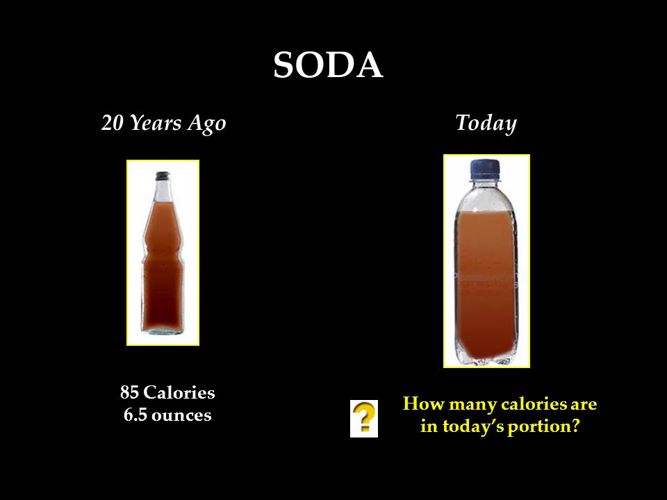 85 Calories 6.5 ounces How many calories are in todays portion? SODA 20 Years AgoToday