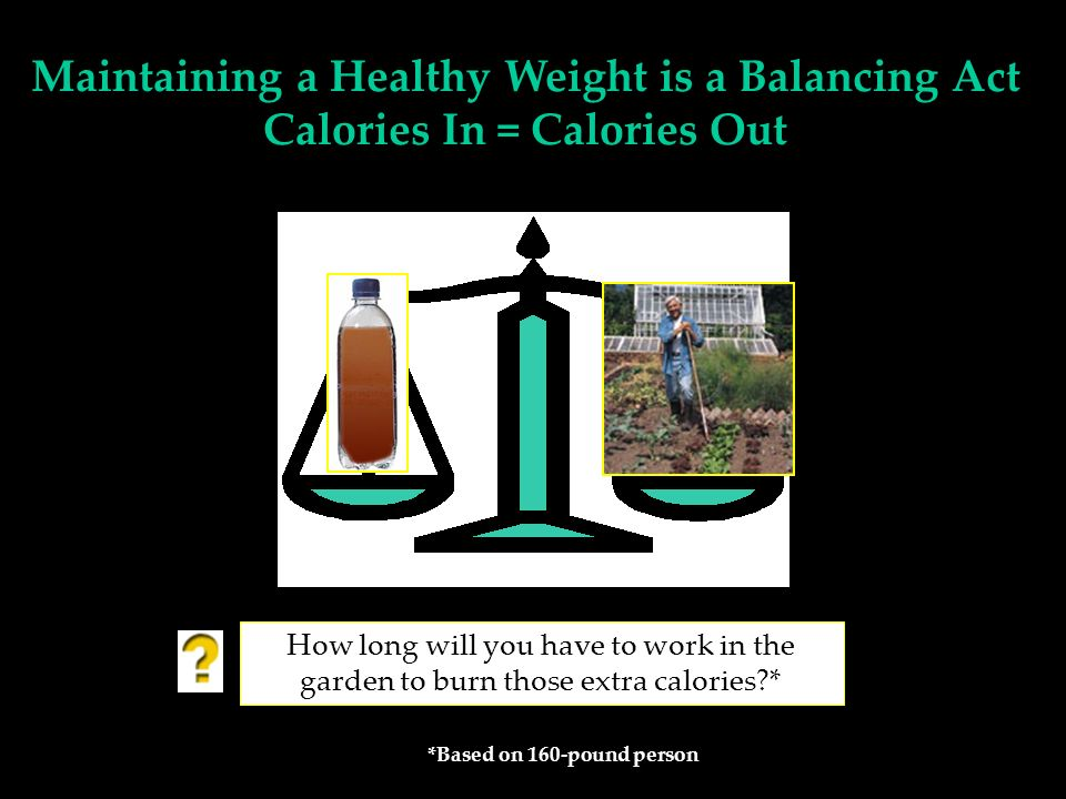 How long will you have to work in the garden to burn those extra calories?* *Based on 160-pound person Maintaining a Healthy Weight is a Balancing Act Calories In = Calories Out
