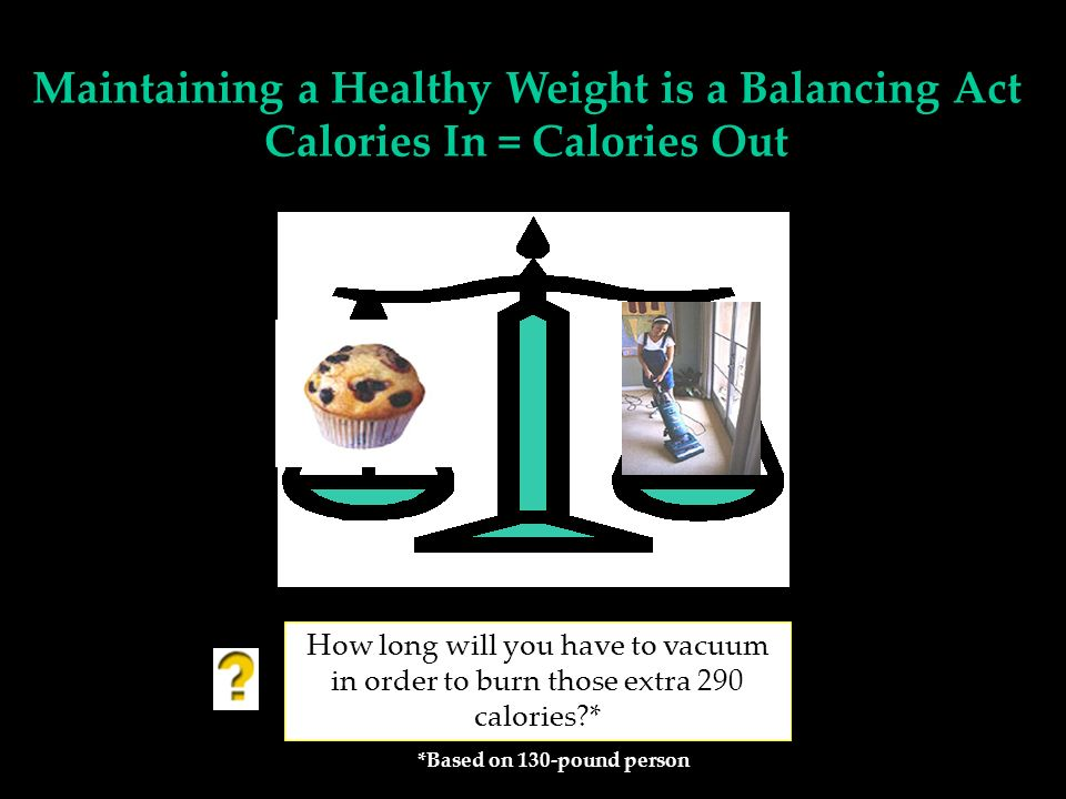 How long will you have to vacuum in order to burn those extra 290 calories?* *Based on 130-pound person Maintaining a Healthy Weight is a Balancing Act Calories In = Calories Out