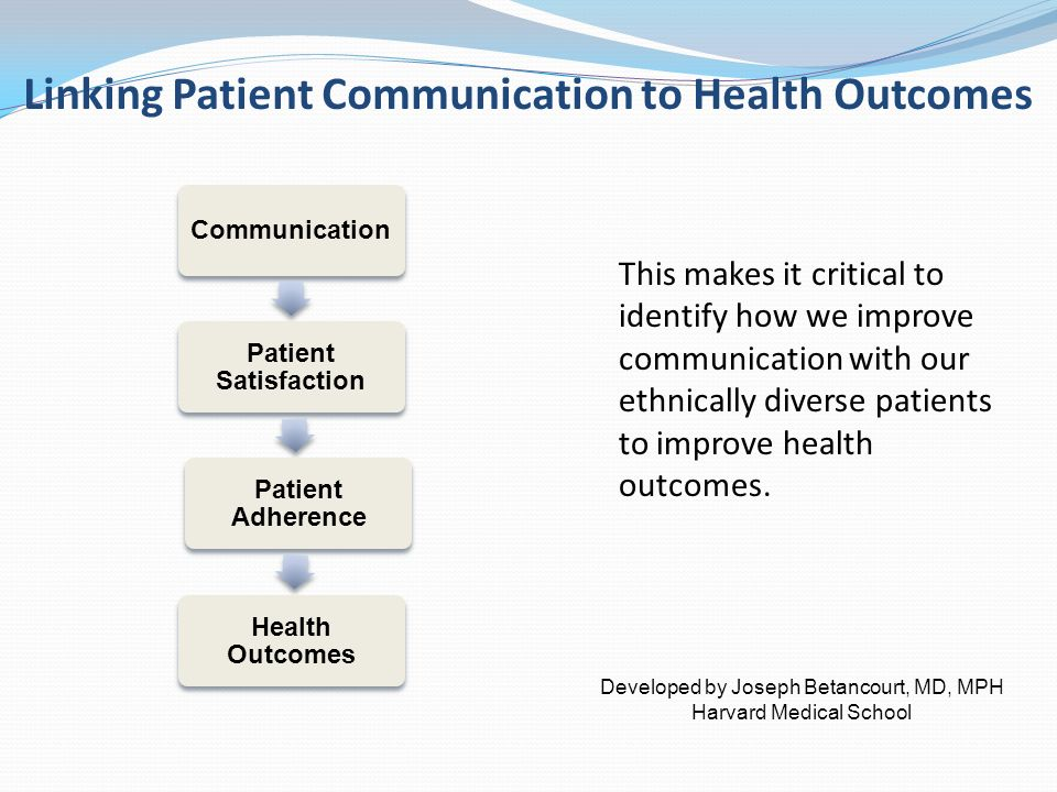 Linking Patient Communication to Health Outcomes Communication Patient Satisfaction Patient Adherence Health Outcomes This makes it critical to identify how we improve communication with our ethnically diverse patients to improve health outcomes.