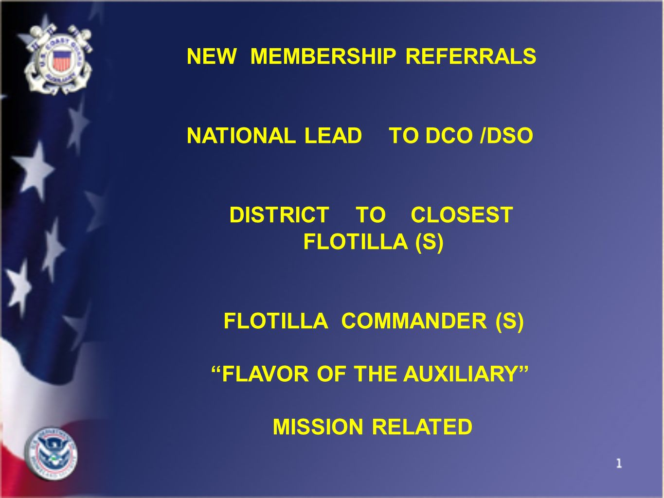 NEW MEMBERSHIP REFERRALS NATIONAL LEAD TO DCO /DSO DISTRICT TO CLOSEST FLOTILLA (S) FLOTILLA COMMANDER (S) FLAVOR OF THE AUXILIARY MISSION RELATED
