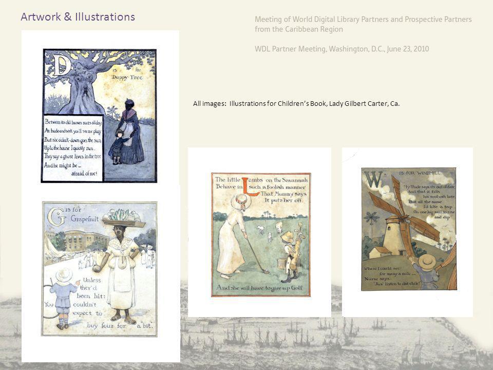Artwork & Illustrations All images: Illustrations for Childrens Book, Lady Gilbert Carter, Ca.