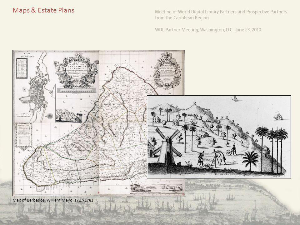 Maps & Estate Plans Map of Barbados, William Mayo, 1717-1781