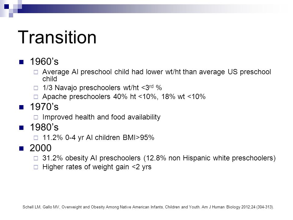 Transition 1960s Average AI preschool child had lower wt/ht than average US preschool child 1/3 Navajo preschoolers wt/ht <3 rd % Apache preschoolers 40% ht <10%, 18% wt <10% 1970s Improved health and food availability 1980s 11.2% 0-4 yr AI children BMI>95% 2000 31.2% obesity AI preschoolers (12.8% non Hispanic white preschoolers) Higher rates of weight gain <2 yrs Schell LM, Gallo MV, Overweight and Obesity Among Native American Infants, Children and Youth.