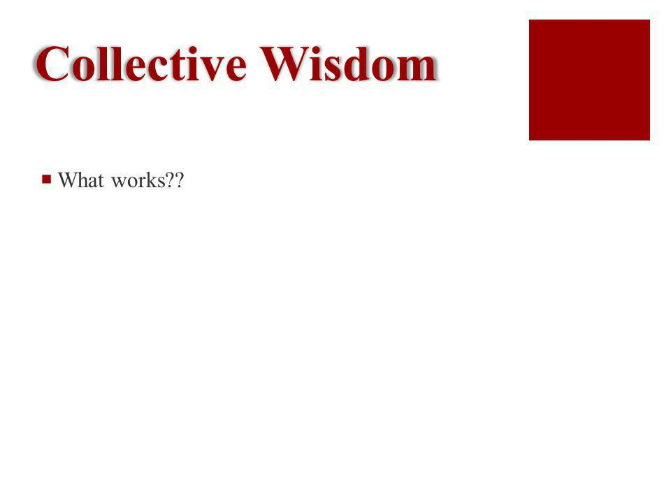 Collective Wisdom What works??
