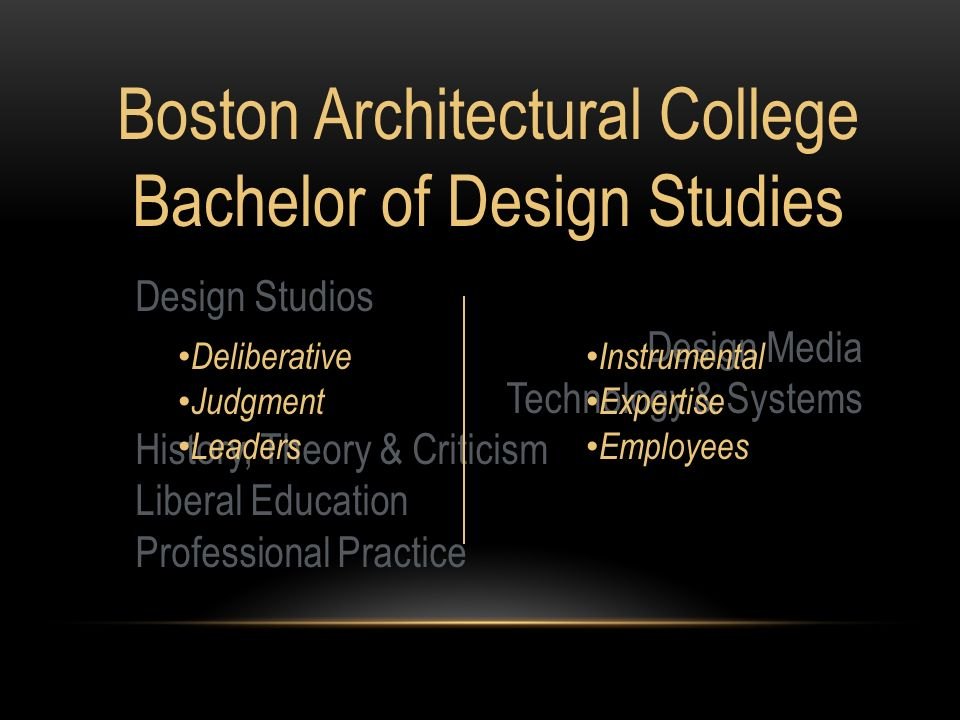 Boston Architectural College Bachelor of Design Studies Design Studios Design Media Technology & Systems History, Theory & Criticism Liberal Education Professional Practice Deliberative Judgment Leaders Instrumental Expertise Employees