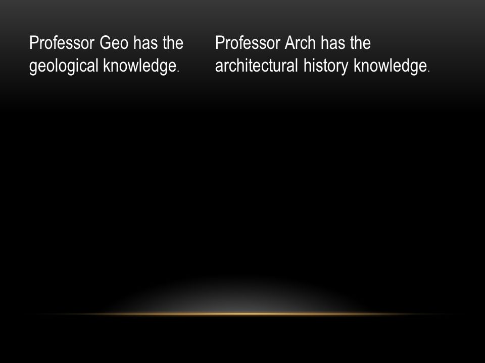 Professor Geo has the geological knowledge. Professor Arch has the architectural history knowledge.