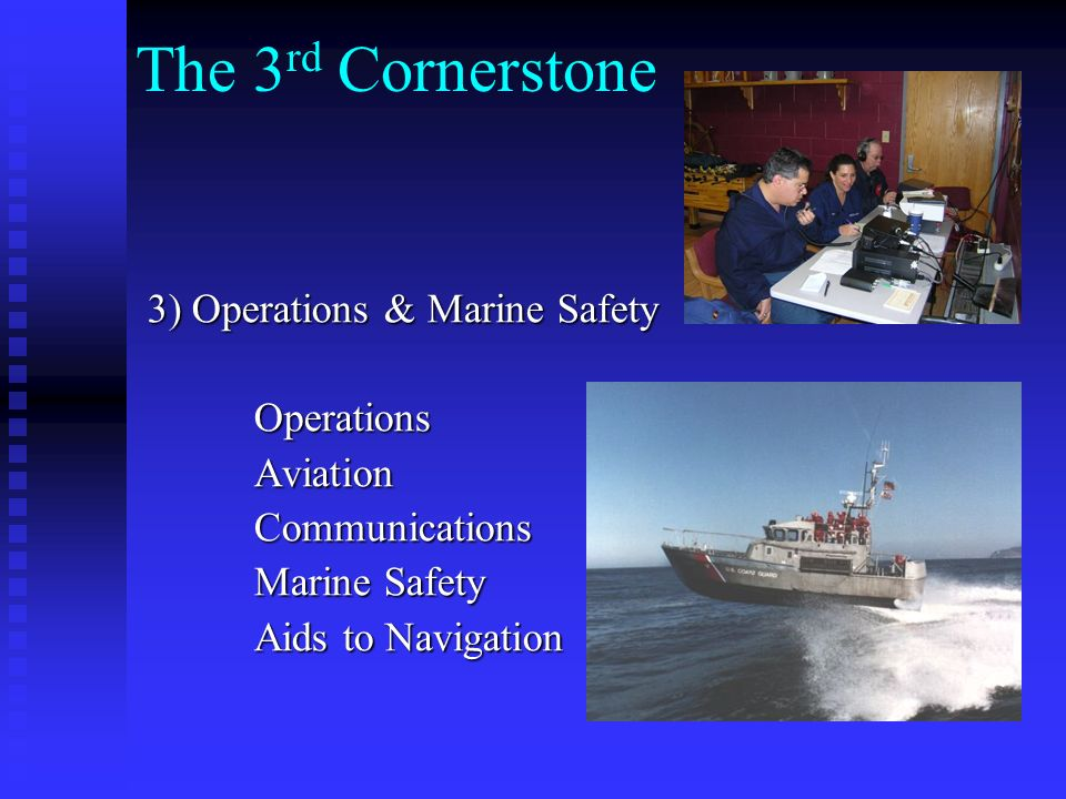 The 2nd Cornerstone 2) Recreational Boating Safety 2) Recreational Boating Safety Public Education Public Education Vessel Exams Vessel Exams Distribution of Safety Literature Distribution of Safety Literature