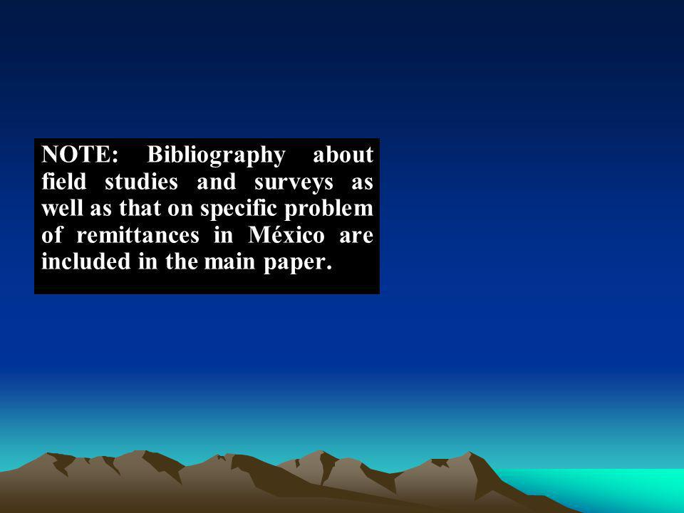 NOTE: Bibliography about field studies and surveys as well as that on specific problem of remittances in México are included in the main paper.