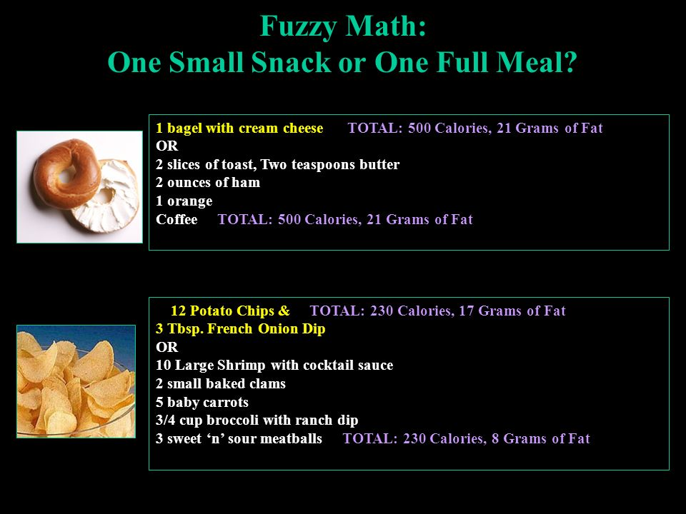 Fuzzy Math: One Small Snack or One Full Meal.