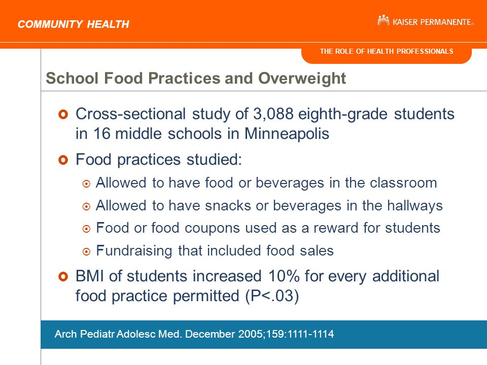 THE ROLE OF HEALTH PROFESSIONALS COMMUNITY HEALTH School Food Practices and Overweight Cross-sectional study of 3,088 eighth-grade students in 16 middle schools in Minneapolis Food practices studied: Allowed to have food or beverages in the classroom Allowed to have snacks or beverages in the hallways Food or food coupons used as a reward for students Fundraising that included food sales BMI of students increased 10% for every additional food practice permitted (P<.03) Arch Pediatr Adolesc Med.