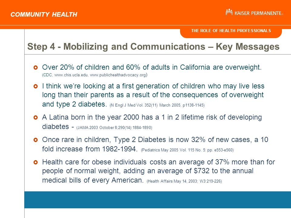 THE ROLE OF HEALTH PROFESSIONALS COMMUNITY HEALTH Over 20% of children and 60% of adults in California are overweight.