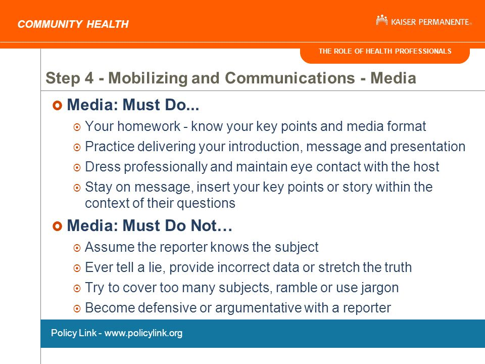 THE ROLE OF HEALTH PROFESSIONALS COMMUNITY HEALTH Media: Must Do...
