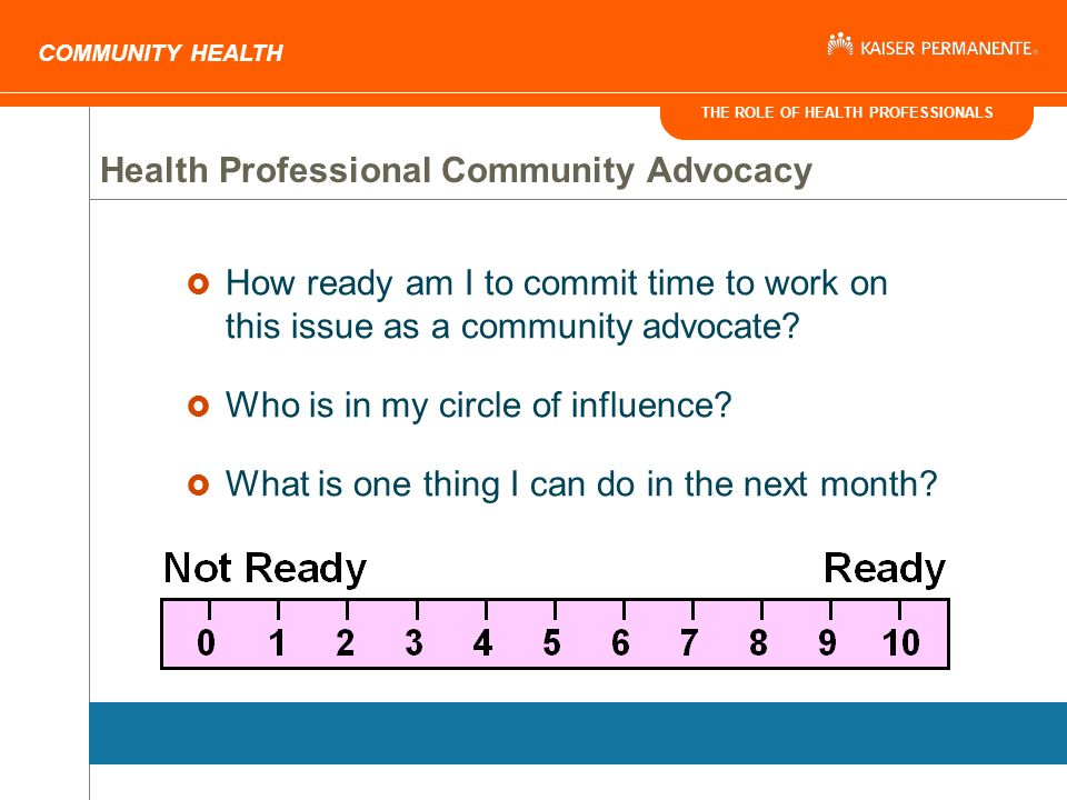THE ROLE OF HEALTH PROFESSIONALS COMMUNITY HEALTH How ready am I to commit time to work on this issue as a community advocate.